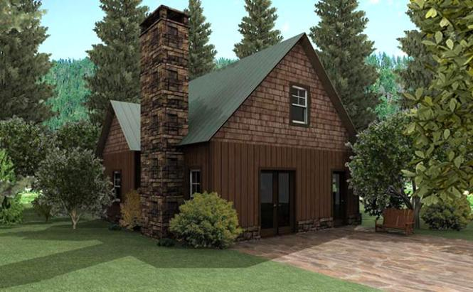 Small Cottage Design With Loft And Stone Fireplace