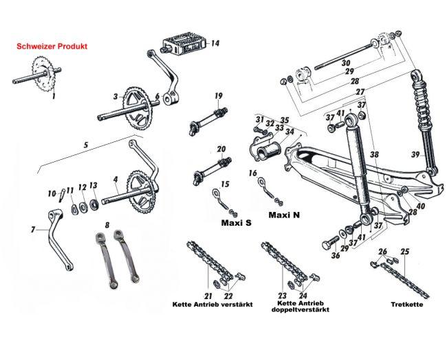 Tretlager-Federungsteile: Tretlagerwelle Puch Maxi N & S