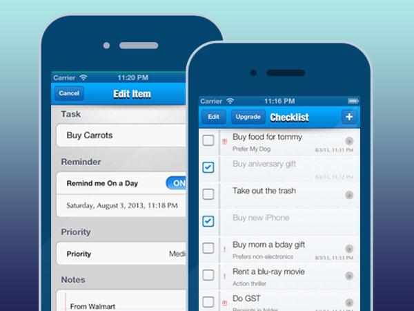 checklist to do list task management iphone 1 - Checklist iPhone - Gestionnaire de Listes de Tâches (gratuit)