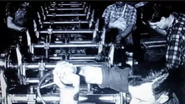 Produção da suspensão dianteira que era especial para suportar as cargas que as Kombis conseguiam transportar.
