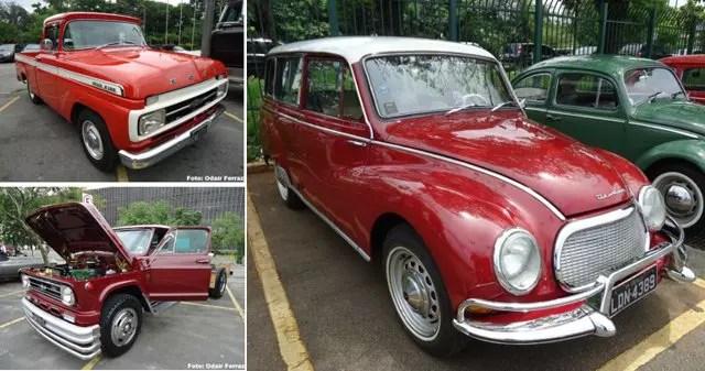 Na foto maior, DKW Vemaguet 1964. À esquerda, Ford F100 1971 e Caminhão C60 1974