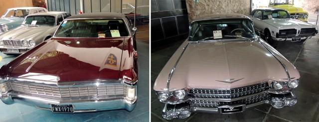 À esquerda Chrysler Imperial 1970 e à direita Cadillac Biarritz 1959