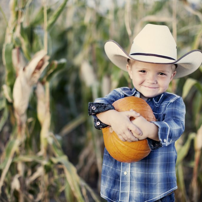 Boy with Cowboy Hat and Pumpkin