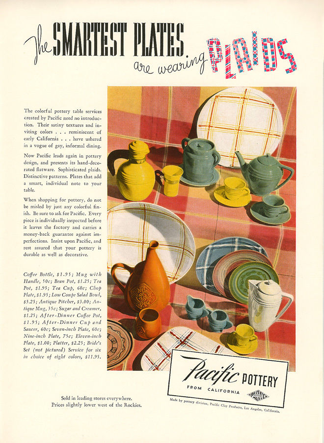 Pacific Pottery Hostess Ware Decorated - 1937
