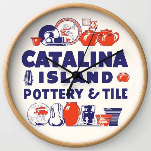 Catalina Island Pottery Tile Clock