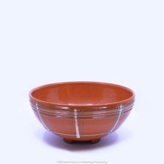 Pacific Pottery Hostessware Decorated BG 310 Footed Salad Bowl Red