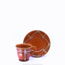 Pacific Pottery Hostessware Decorated BG 609-634 Coffee Cup & Saucer Red