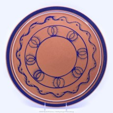 Pacific Pottery Hostessware Decorated BH 619 Cake Plate Apricot