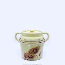 Pacific Pottery Hostessware Decorated Chrysanthemum 235 Beanpot Yellow