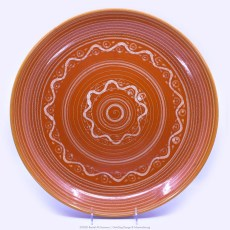 Pacific Pottery Hostessware Decorated P 623 Low Bowl Red