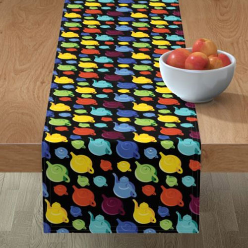 Qwkdog California Teapots Pattern Black Runner