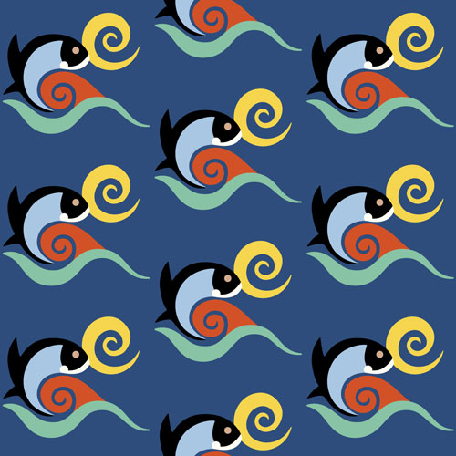 QwkDog California Fish Tile Design Pattern