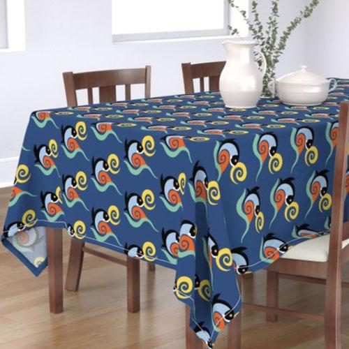 QwkDog California Fish Tile Design Pattern Tablecloth 02