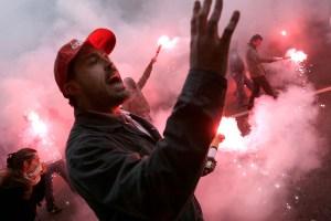 Octobre 2007: manifestation contre la réforme des régimes spéciaux des retraites.