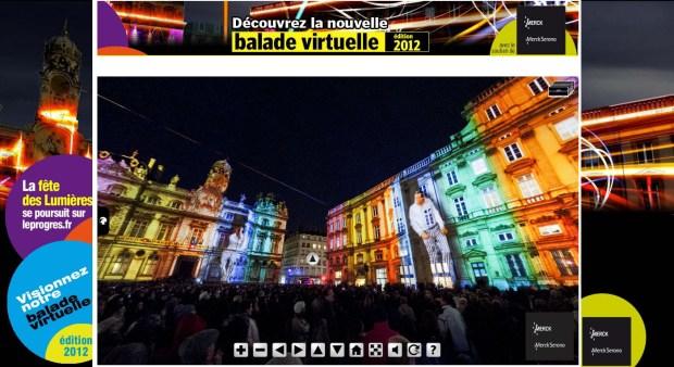 visite virtuelle de la fête des Lumières 2012 à Lyon