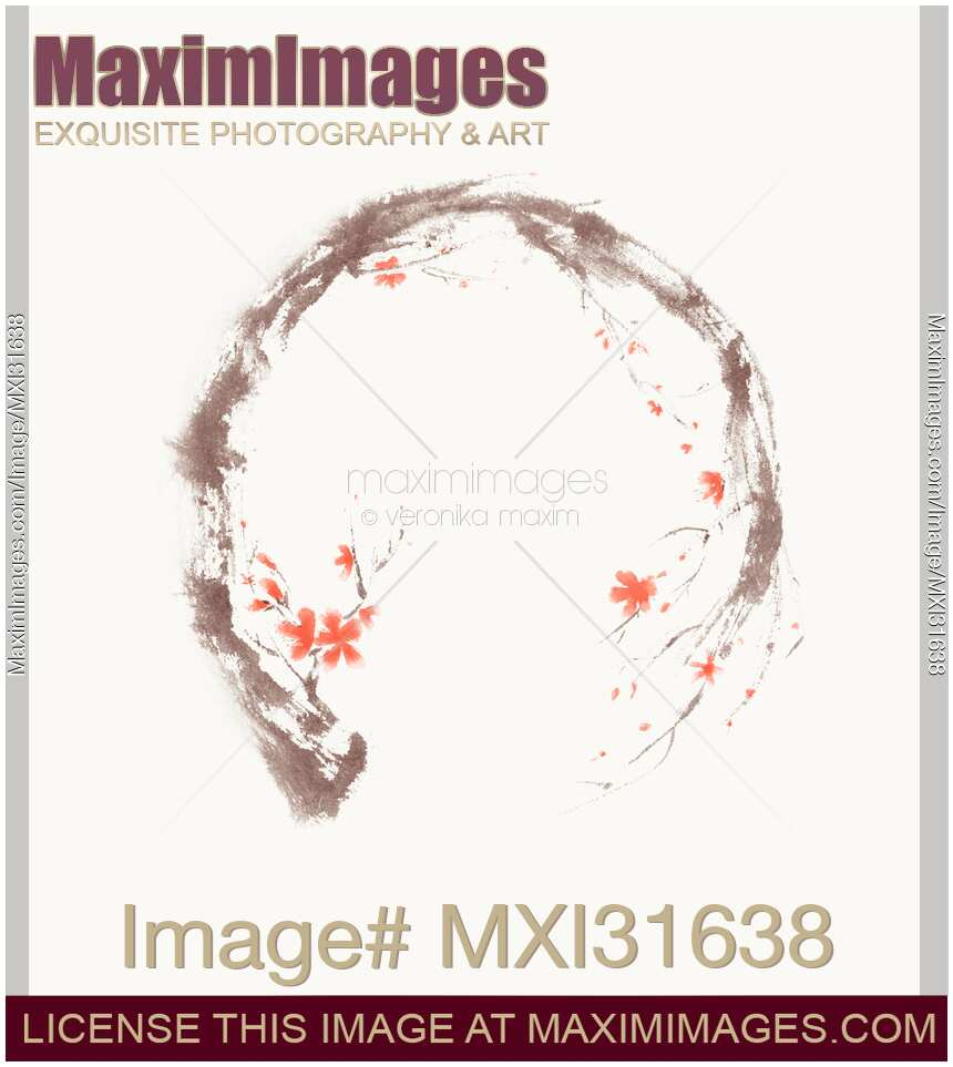hight resolution of artistic illustration of enso circle in the form of the sakura branch with coral flowers on