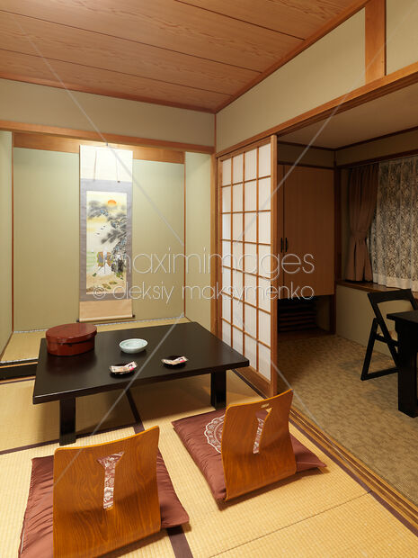 japanese table and chairs blue upholstered office chair photo of chabudai tea zaisu at ryokan in this rights managed stock