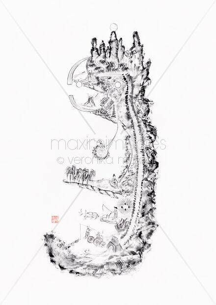 Art Prints of Neijing Tu, Daoist inner alchemy chart, Nei
