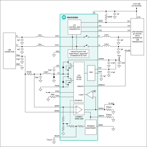 small resolution of a highly integrated dc dc step down converter with usb host charger adapter circuitry