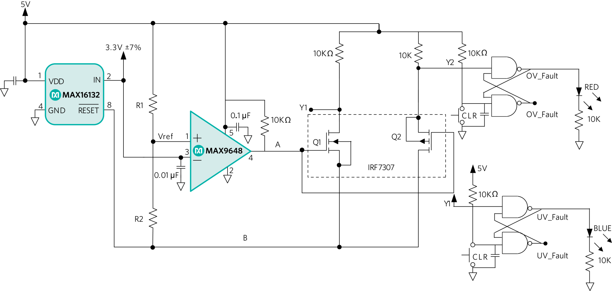 hight resolution of uv ov detection circuit with led status latched using sr latch