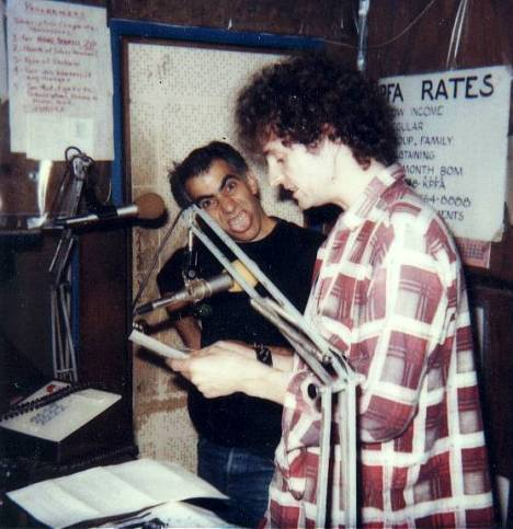 Tim and Jeff — MRR Radio on the air at KPFA, Berkeley 1982 (photo by Dale Stewart)