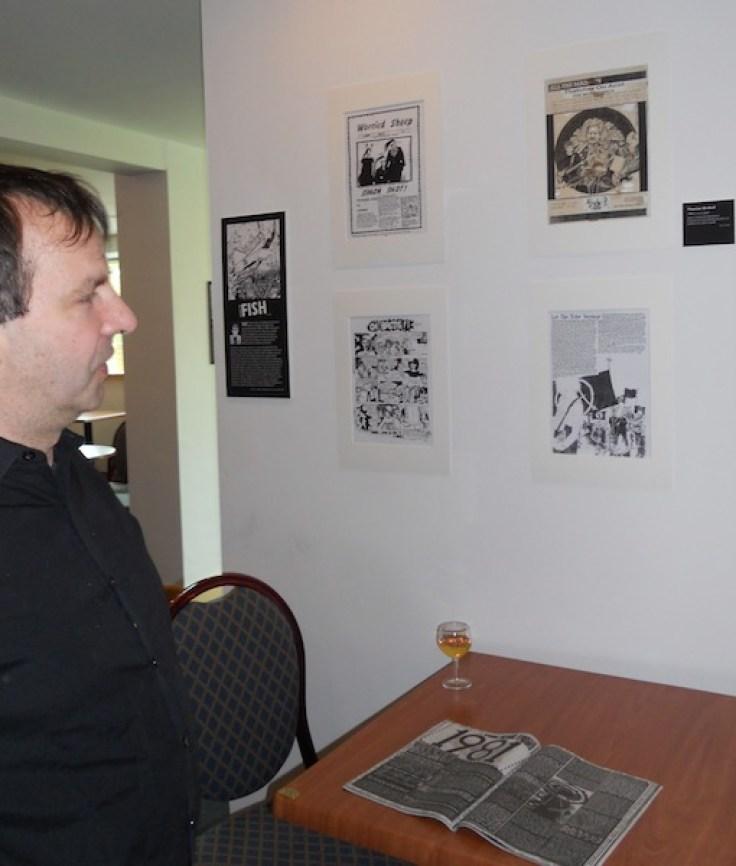Matt Cornish (Thatcher on Acid/Psycho Daisies) standing with illustration of himself
