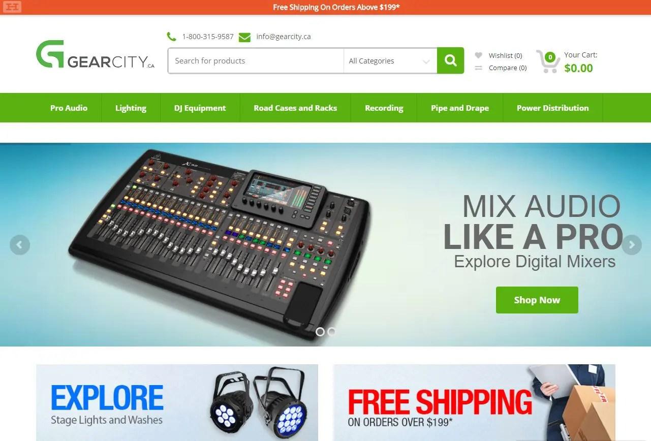 screenshot of gearcity.ca website