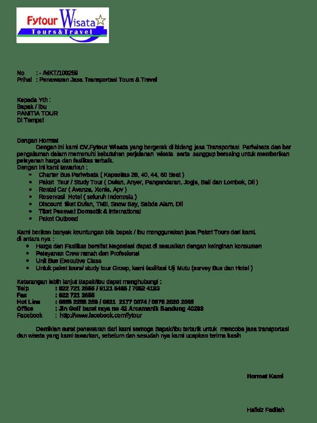 Contoh Surat Penawaran Jasa Transportasi
