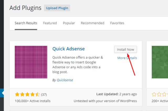 Instal Plugin Quick Adsense