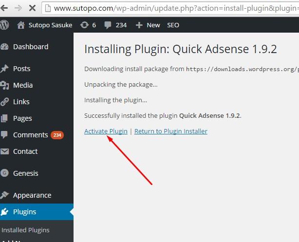 Install Plugin wordpres Adsense