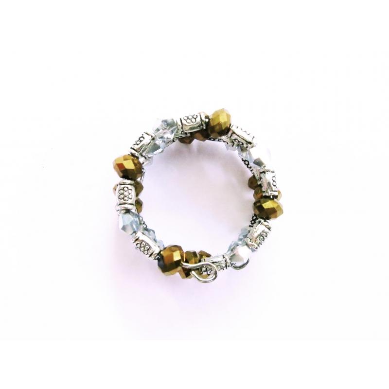 Spiralring in gold und silber mit Metallperlen und