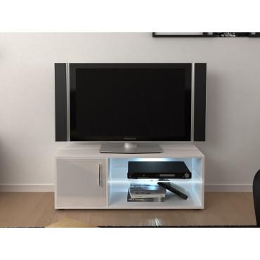 meuble tv 100 cm avec led blanc brillant lynco
