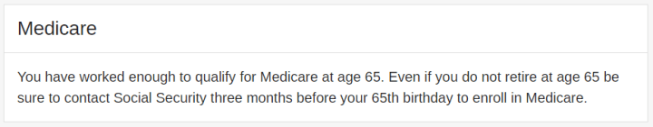 Social Security website showing I will qualify for Medicare Part A at 65.