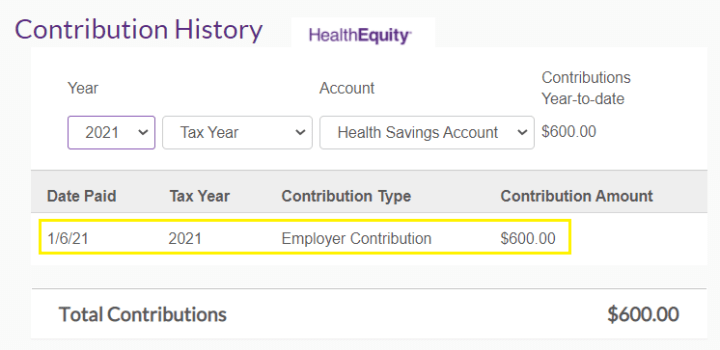 Max's 2021 employer health savings account contribution came in at $600.