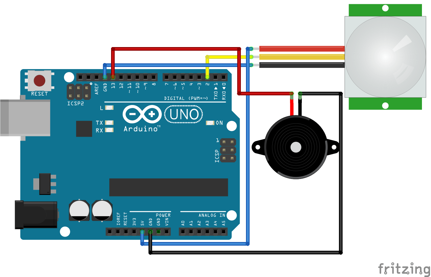 hight resolution of pir motion sensor alarm using arduino