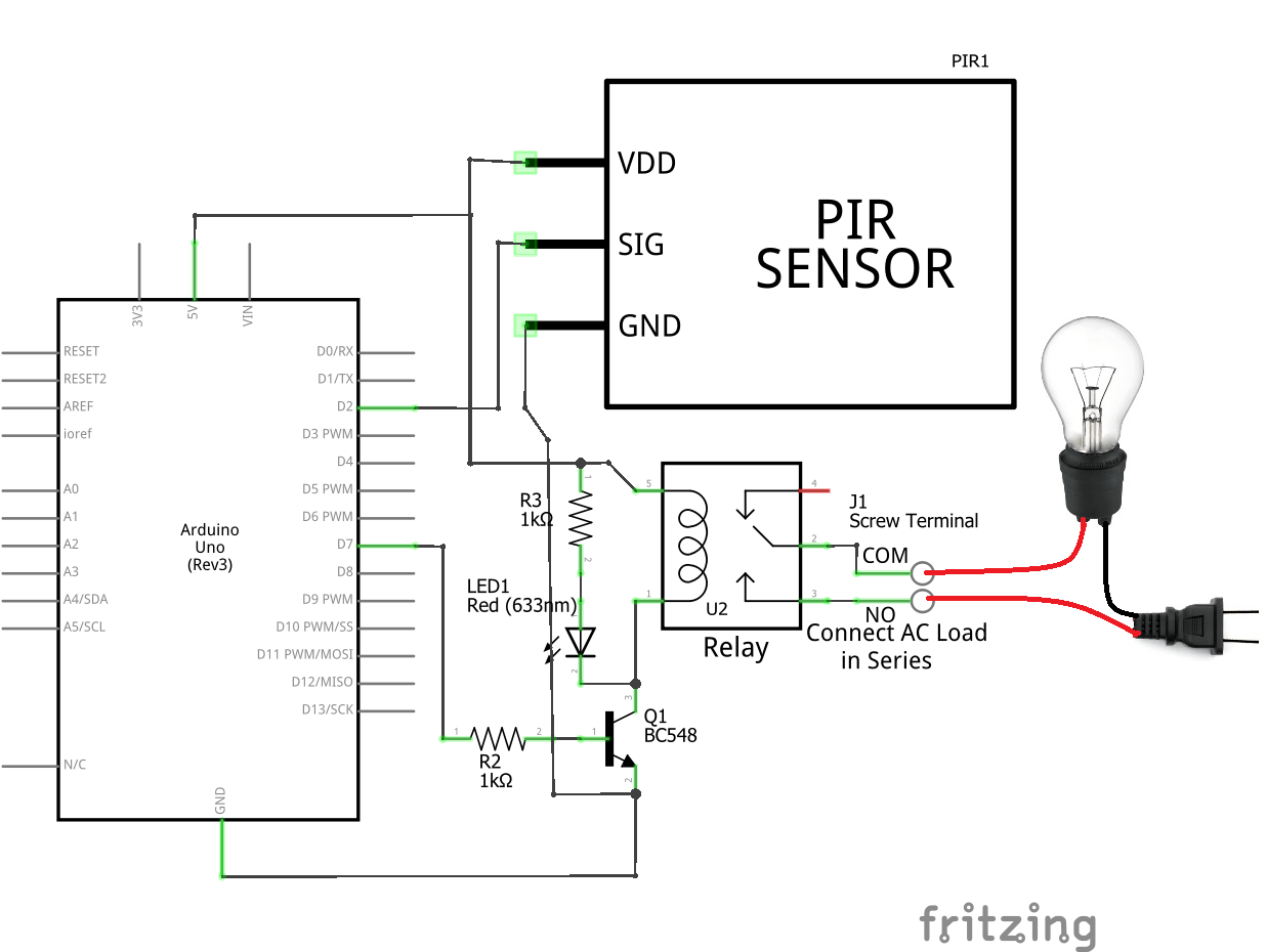 Pir Motion Sensor Light Switch Circuit Connection