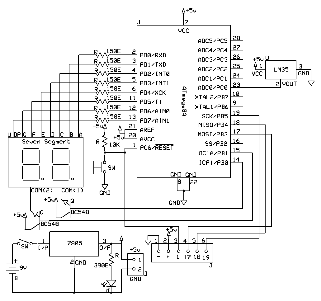 hight resolution of lm35 temperature sensor interfacing with seven segment display using avr