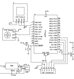 pir sensor and gsm based security system avr pic microcontroller projects car wireless alarm circuit diagram [ 1135 x 1007 Pixel ]