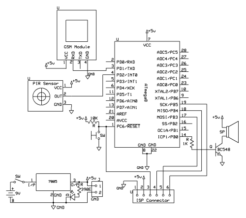 small resolution of pir sensor and gsm based security system avr pic microcontroller projects car wireless alarm circuit diagram