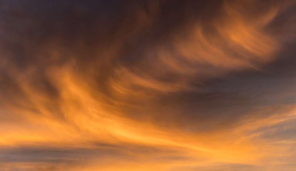 Free photo Clouds Background Grey Sunset Orange Wavy Sky