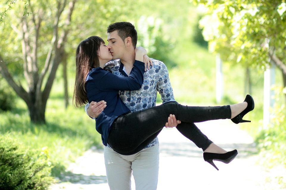 romantic love kiss hug