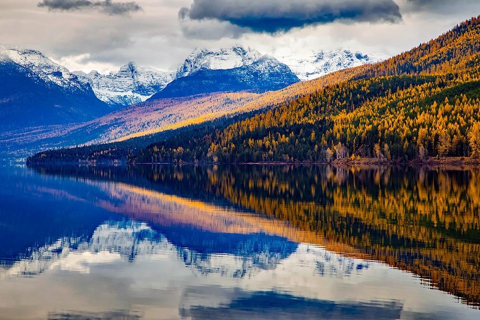 Fall Winter Background Wallpaper Free Photo Montana Glacier National Park Lake Mcdonald