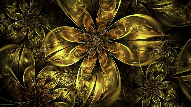 Animals And Birds Wallpaper Free Photo Gold Flowers Golden Floral Fractal Metallic