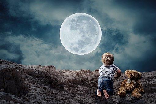 Free photo Little Boy Moon Teddy Bear Good Night Small