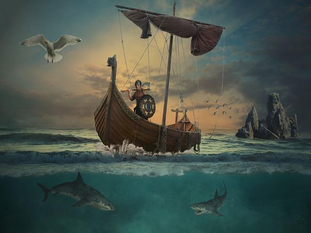 Ocean Animals Wallpaper Free Photo Ocean Sea Waters Island Vikings Boot Water Ship