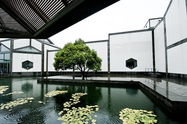 Free photo Pool Window Design Suzhou Museum Rain Tree  Max Pixel