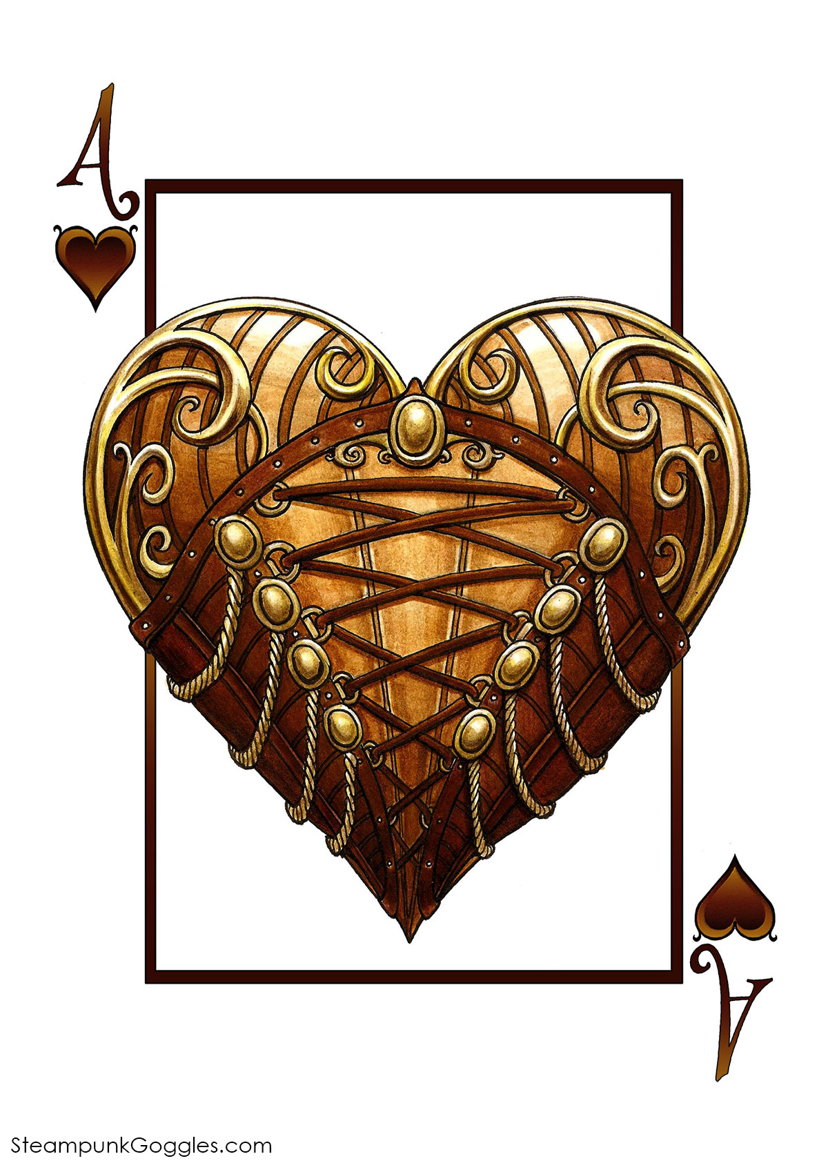 Steampunkgoggles Hearts Ace 1200 Max Playing Cards