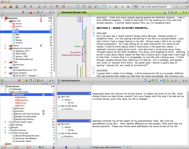 MAXQDA for Mac - The four windows user interface