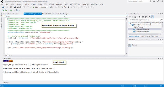 PowerShell Community Tools loaded in SQL Data Tools BI.