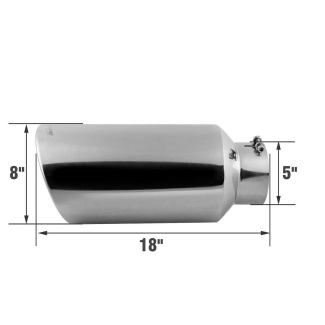inlet 4 outlet 8 18 long stainless steel rolled edge exhaust tip diesel
